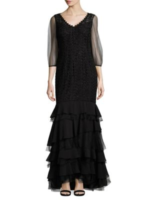 Kay Unger Tiered Mermaid Gown In Black