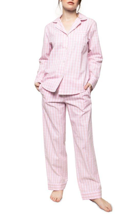 Petite Plume Gingham Cotton Pajama Set In Pink