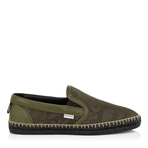 Jimmy Choo Vlad Men's Camo-print Espadrille Slip-on Sneaker, Green In Army Green