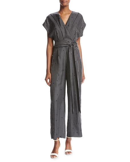 85a9e619082 Diane Von Furstenberg Short-Sleeve V-Neck Striped Silk Jumpsuit In Black