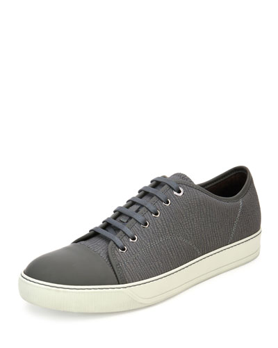 Lanvin Textured Leather Low-top Sneaker, Light Gray In Light Grey