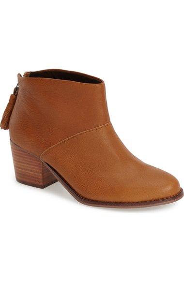Toms Leila Leather Block-heel Bootie, Black In Medium Brown