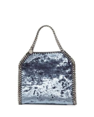 3982db85224e Stella Mccartney  Falabella  Mini Crushed Velvet Chain Shoulder Tote In  Charcoal