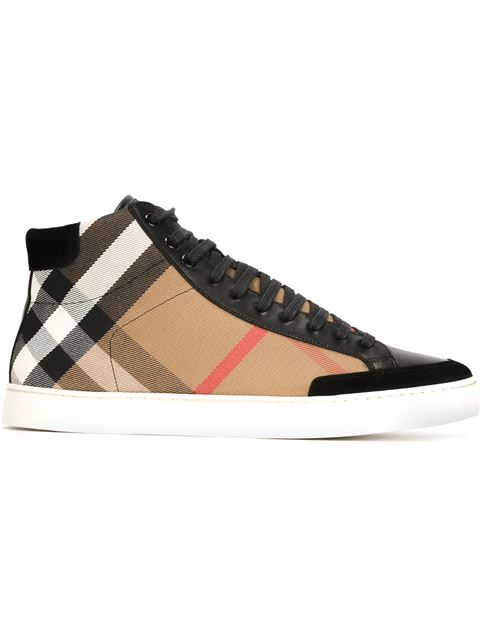 Burberry Check Canvas & Leather High Top Sneakers In Camel/black