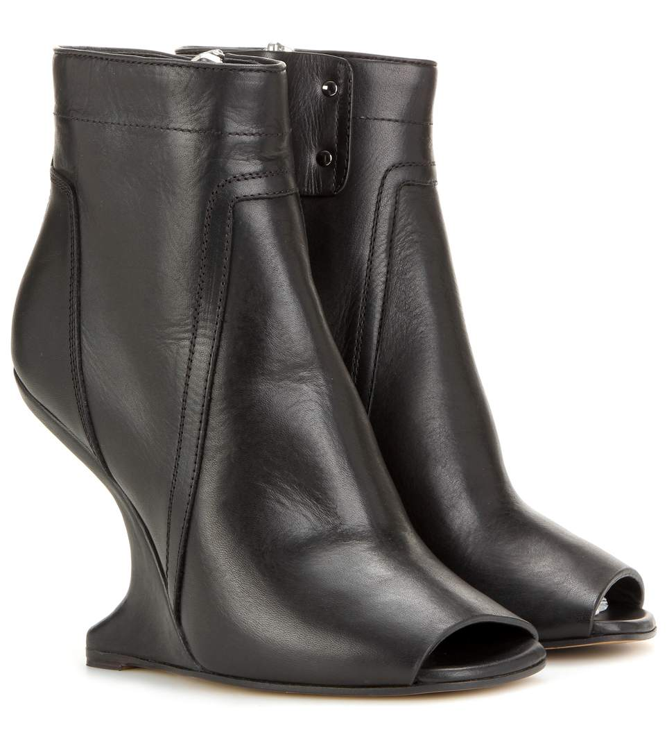 Rick Owens Black Cantilevered Wedged Booties