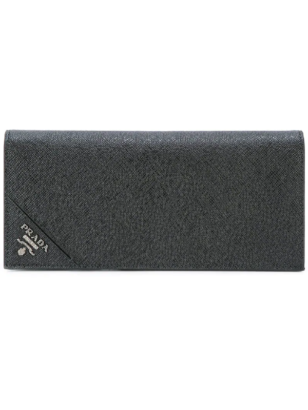 b7511428d01f Prada Bi-Fold Saffiano-Leather Wallet In Black | ModeSens