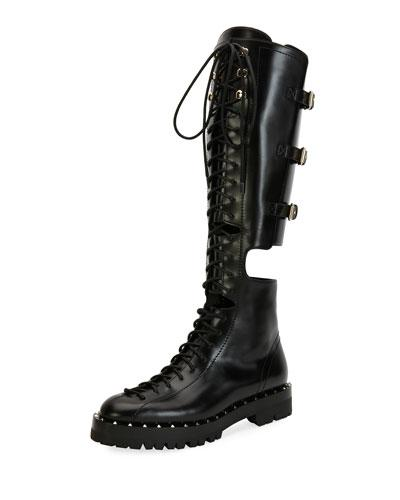 45b6e1060ac Valentino Soul Rockstud Leather Over-The-Knee Combat Boots In Eero ...
