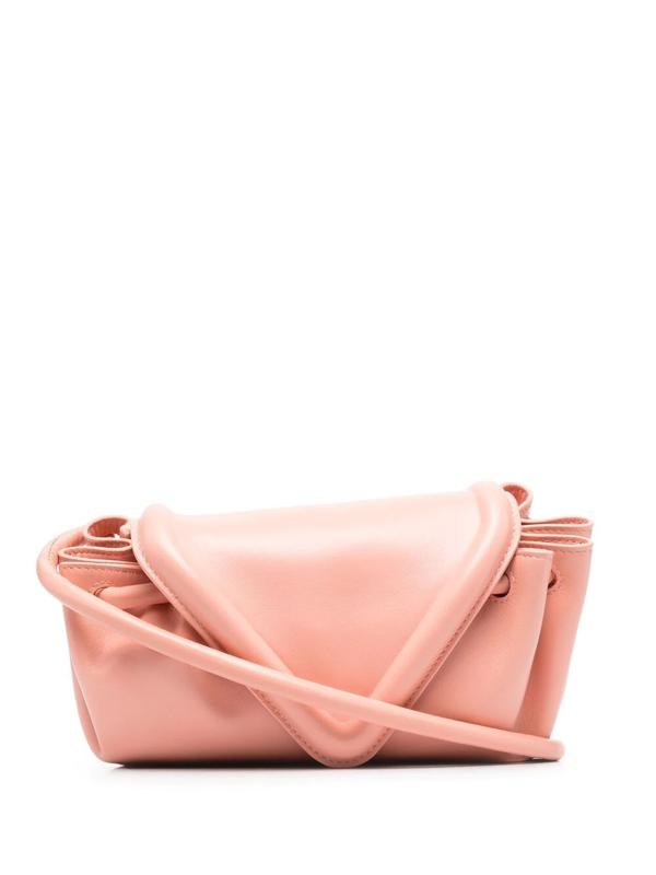 Bottega Veneta Small Beak Triangle Flap Leather Shoulder Bag In Peachy-silver