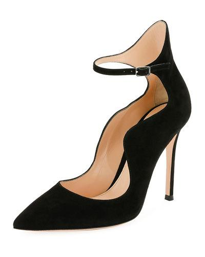 b9bed44b9 Gianvito Rossi Scalloped Suede Ankle-Wrap Pump In Black | ModeSens