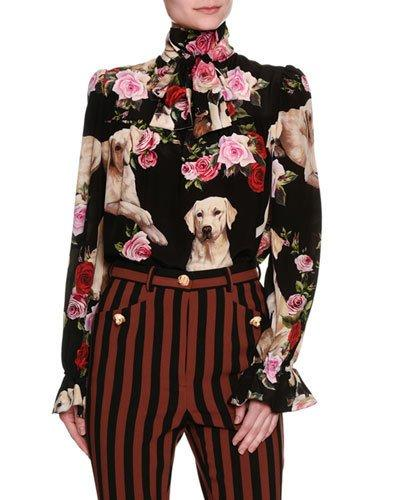 54751ad767d8f0 Dolce & Gabbana Floral & Golden Retriever Silk Tie-Neck Blouse, Black In  Black