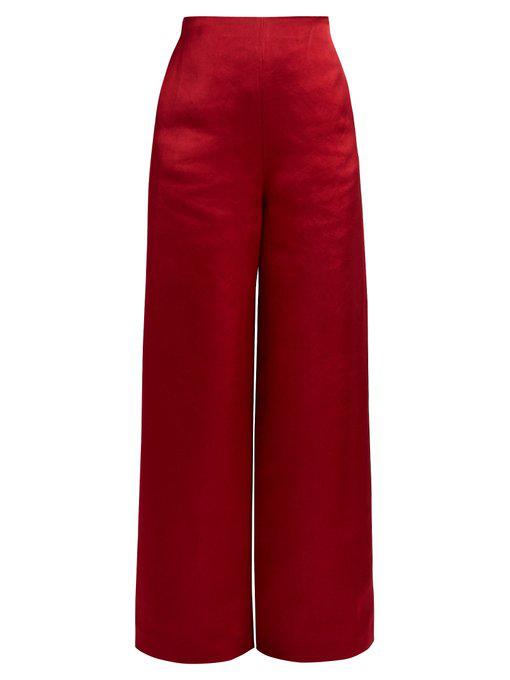 The Row Kiola Washed Silk-Charmeuse Wide-Leg Pants In Burgundy