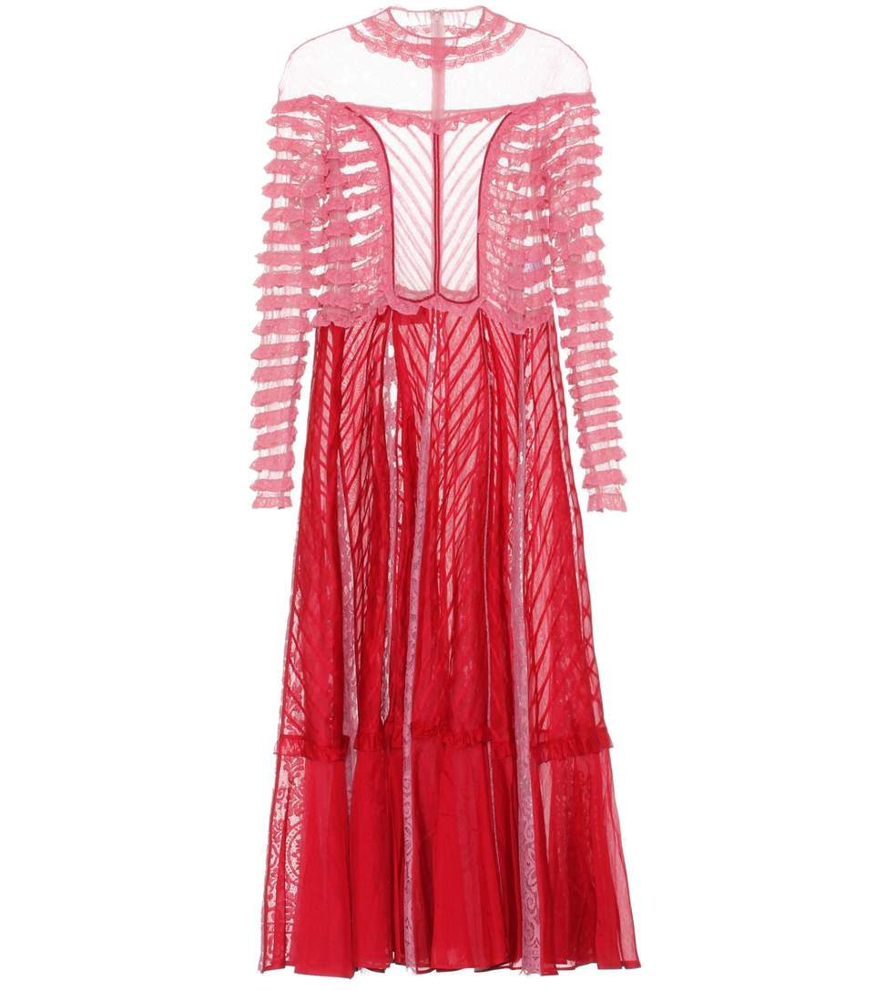 Valentino Ruffled Tulle-Paneled Cotton-Lace And Organza Gown In Red