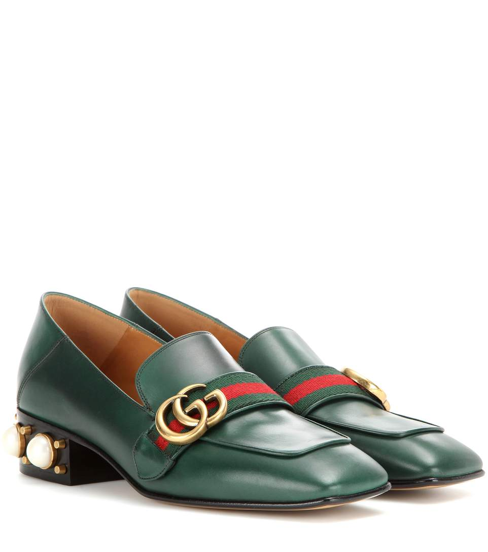 Gucci Leather Mid-heel Loafers In Green Leather