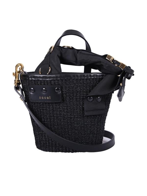 Sacai Paglia Mini Bucket Bag In Black