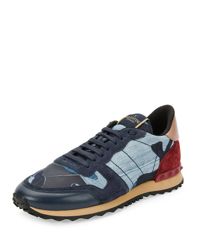 Valentino Rockrunner Camo Leather & Denim Sneakers In Blue