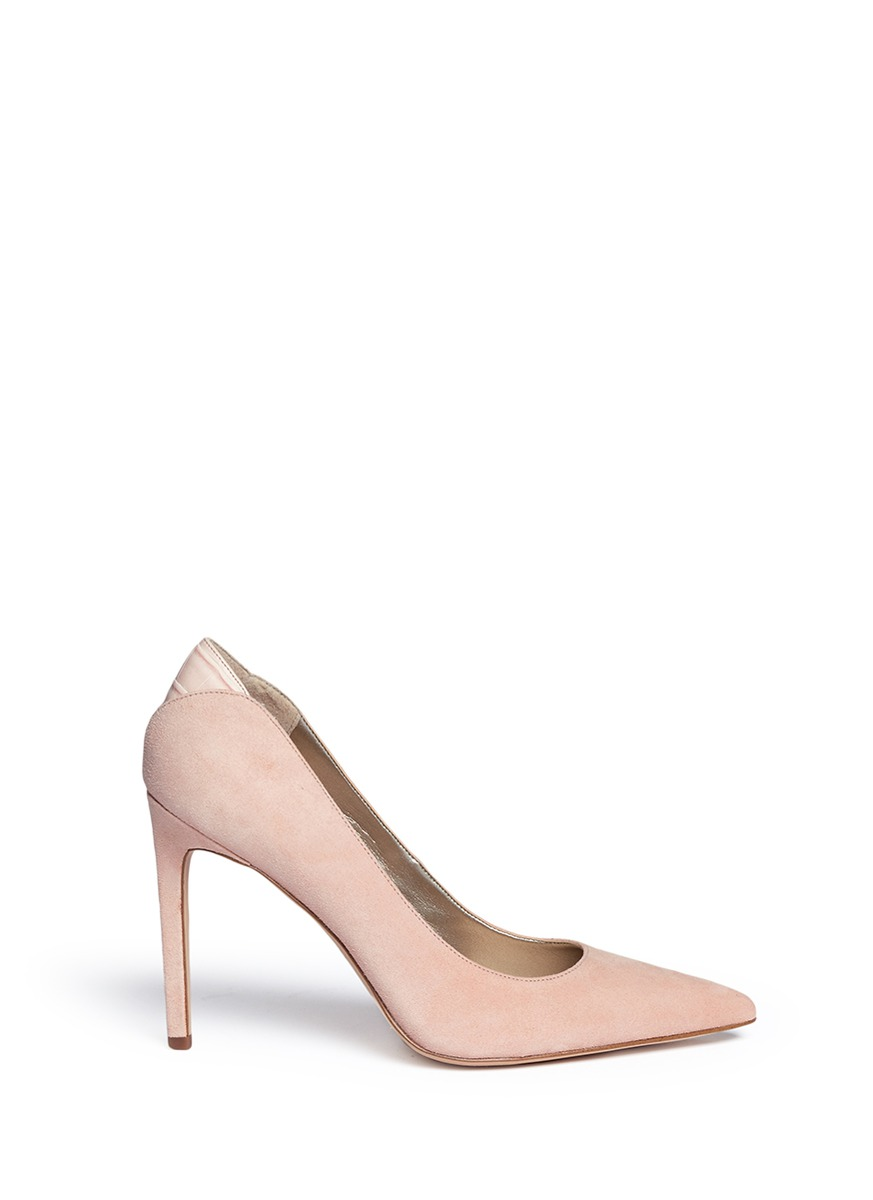 a9c014c7dce 'Dea' Croc Embossed Trim Suede Pumps in Seashell Pink