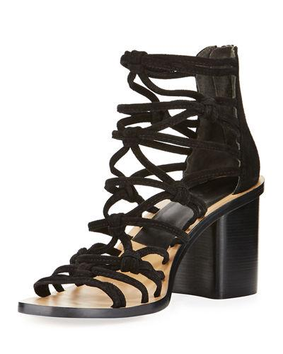3e35dc1c Camille Caged Macrame Mid-Heel Sandal, Black in Black Suede