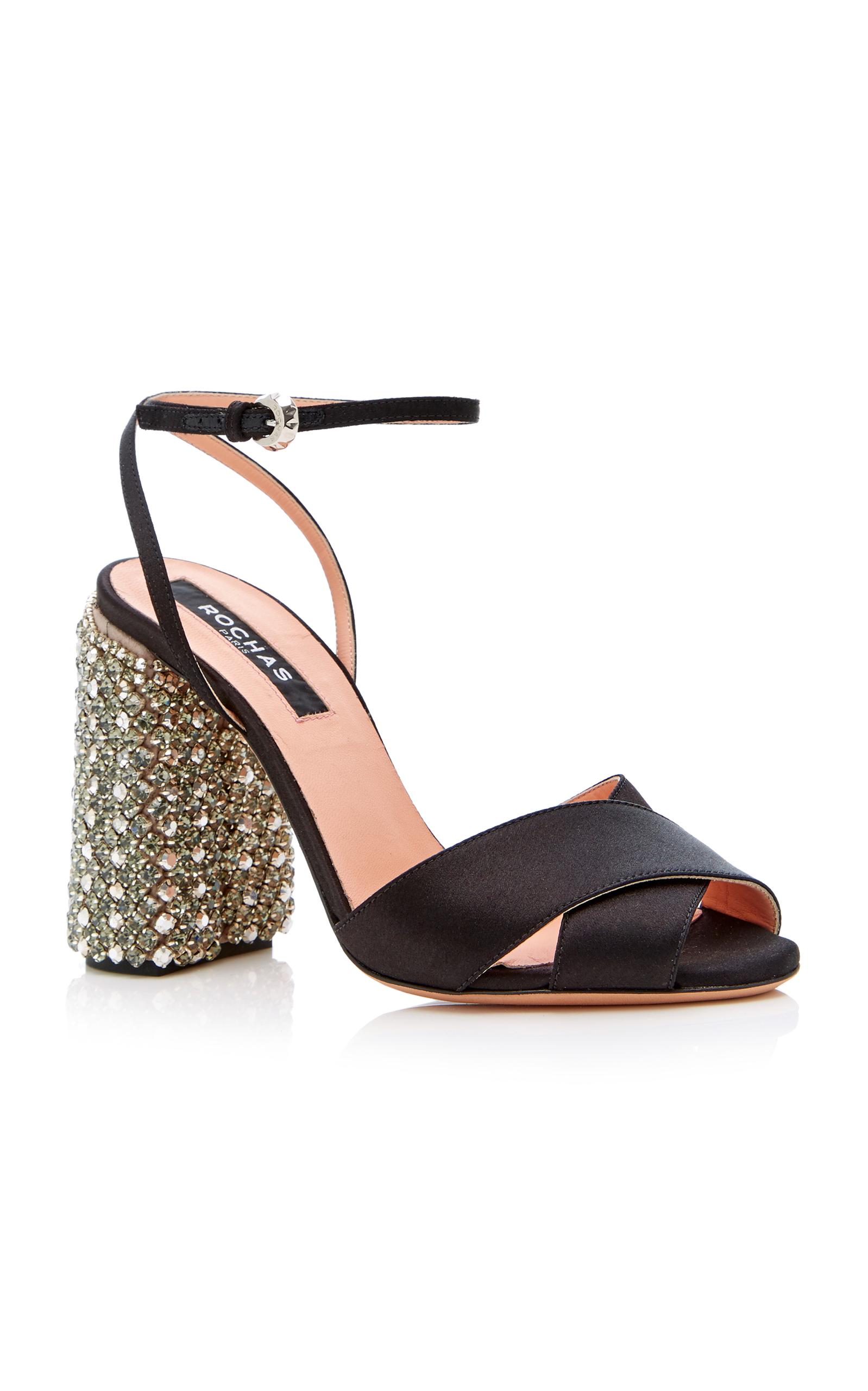Rochas Crystal Heel Sandal In Black