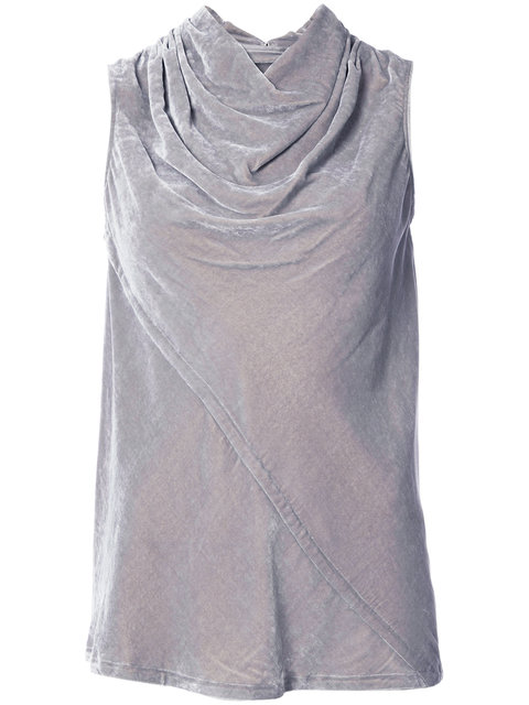 Rick Owens Velvet Draped Collar Top - Grey