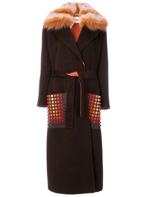 Fendi Single Breasted Coat In Brown
