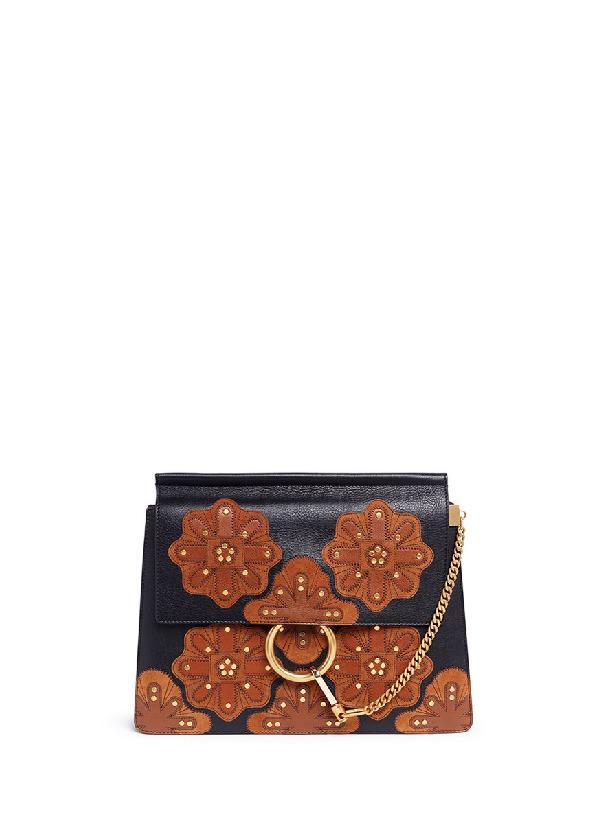 f175913c4c3c ChloÉ  Faye  Medium Stud Floral Patch Leather Shoulder Bag In Black ...