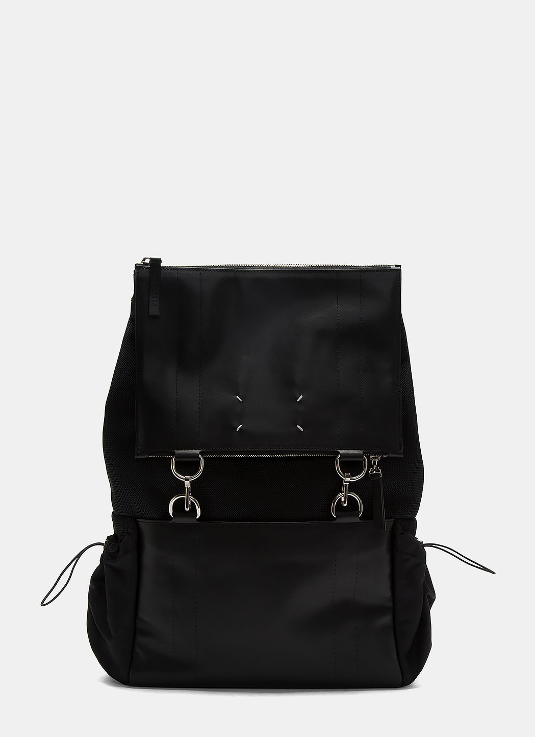 Maison Margiela Mesh And Leather Link Ring Backpack In Black