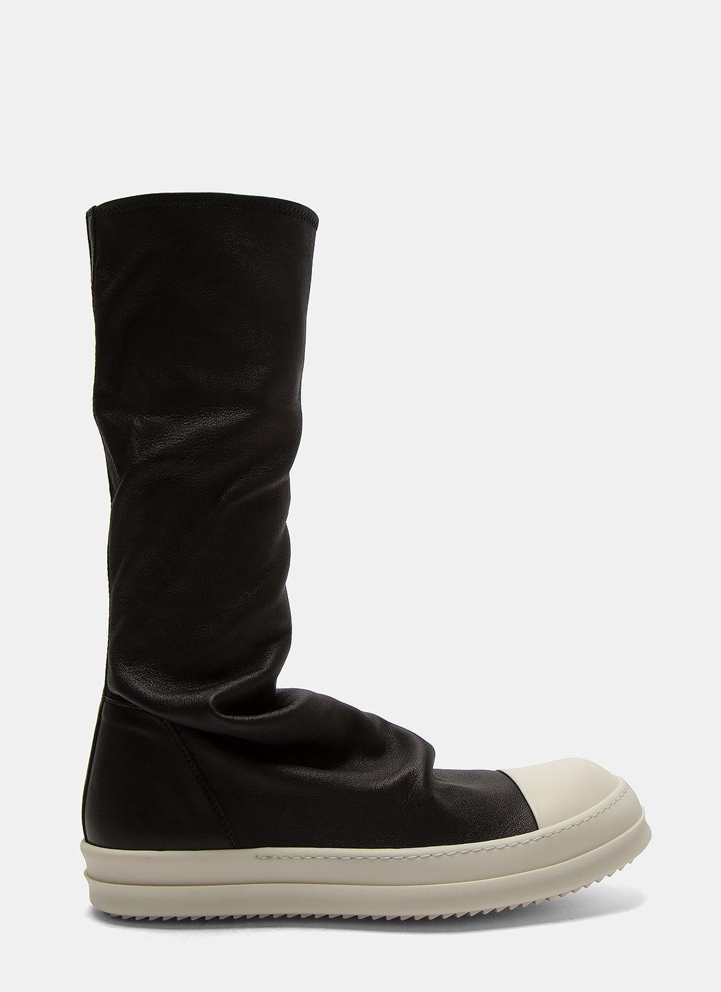 Rick Owens Long Leather Sock Sneakers In Black