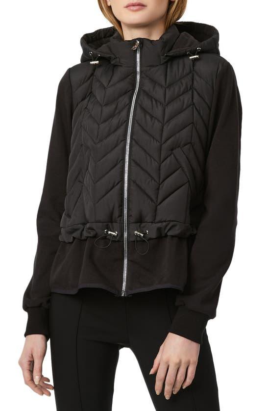 Bernardo Mix Media Hooded Jacket In Black