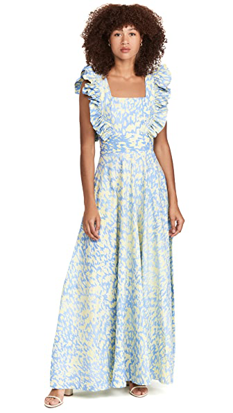 Sika Efe Pinafore Fit & Flare Dress In Sky Blue/ White