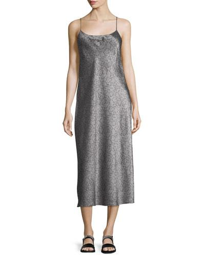 Vince Sleeveless Silk Slip Midi Dress In Gray