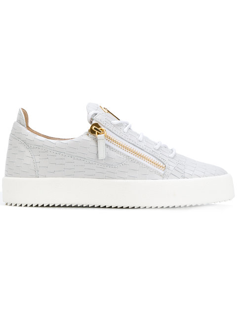 d4ba1b36d4705 Giuseppe Zanotti Frankie Croc-Embossed Leather Trainers In Grey ...