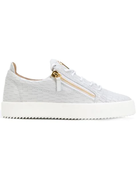 Giuseppe Zanotti Frankie Croc-Embossed Leather Trainers In Grey