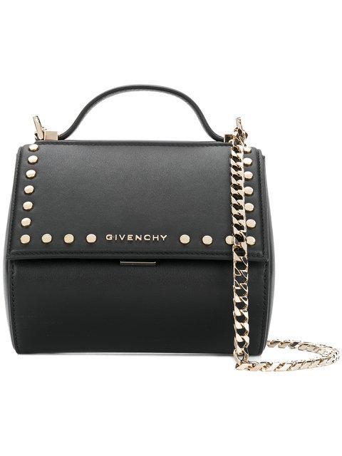 b6b5c47389ad Givenchy Black Studded Mini Pandora Box Chain Bag
