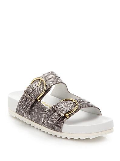 Salvatore Ferragamo Moro Lizard-Embossed Leather Slide Sandals In Grey
