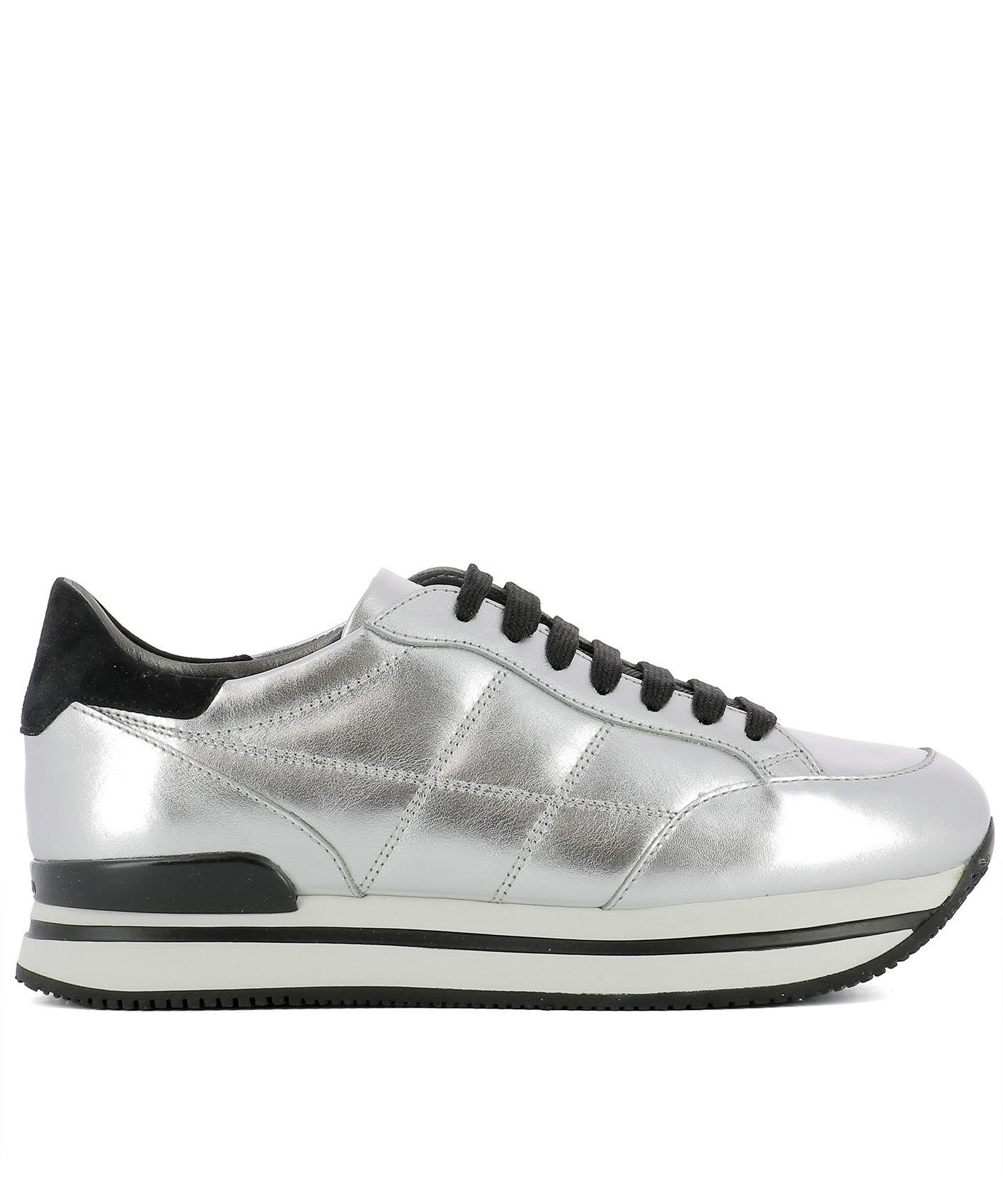 ea44f7eaaa0 Hogan Maxi H222 Sneakers In Metallic-Effect Leather In Silver