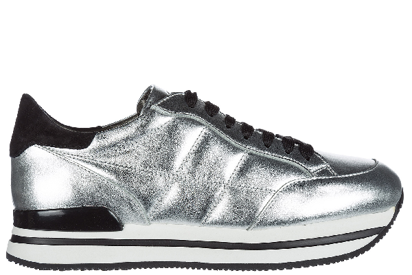 Hogan Maxi H222 Sneakers In Metallic-effect Leather In Silver