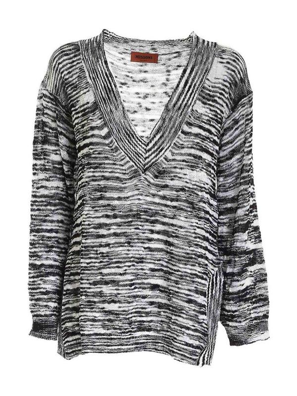 Missoni V-neck Sweater In Black And White In Multi