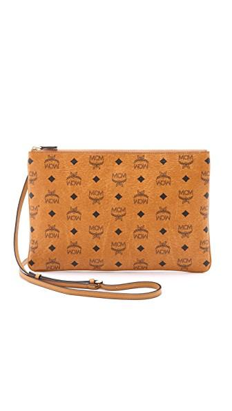 Mcm Heritage Convertible Coated Canvas Zip Pouch - Brown In Cognac
