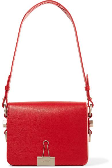 11096738d7016b Off-White Binder Clip Leather Shoulder Bag, Red | ModeSens