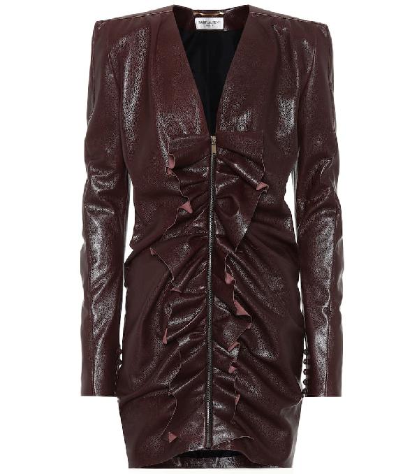 Saint Laurent Ruffled-Panel Leather Mini Dress In Brown