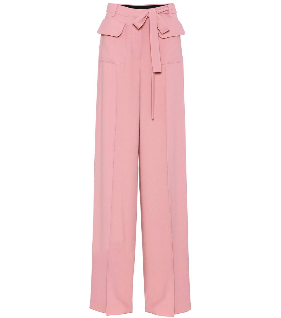 Valentino Wide-Leg Trackpants In Pink
