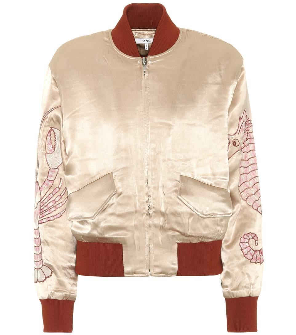 Ganni Embroidered Satin Bomber Jacket In Beige