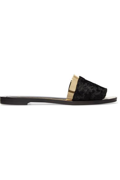 194d2078ce48 Lanvin Faux Fur And Metallic Leather Slides In Black