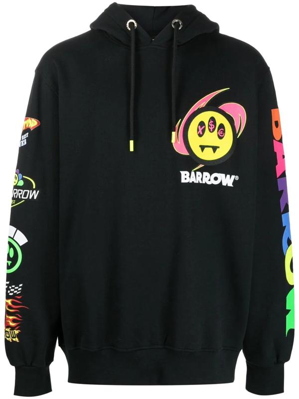 Barrow Logo Print Hooded Sweatshirt In Black