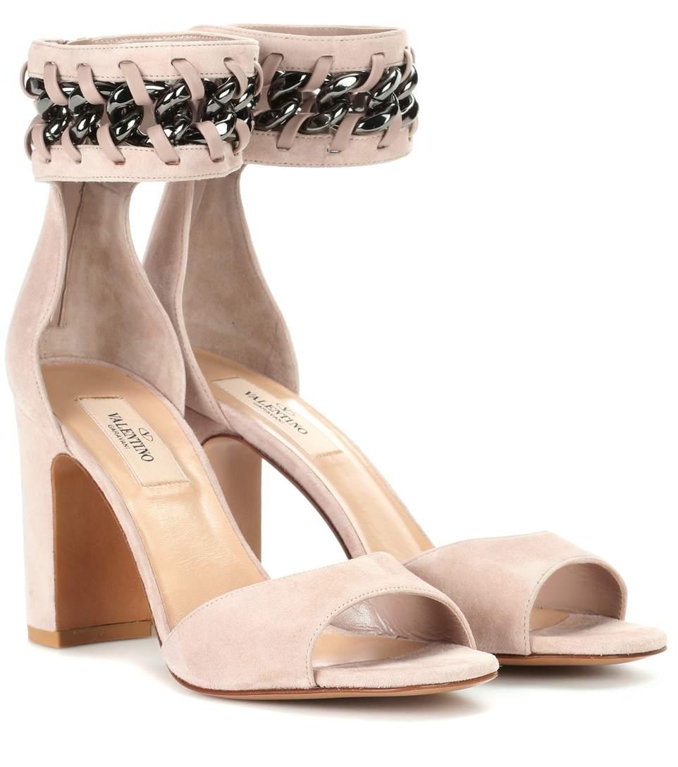 b5159c5cff56 Valentino Garavani Suede Sandals In Pink