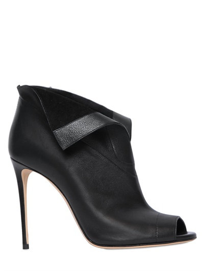Casadei 100mm Open Toe Leather Ankle Boots, Black