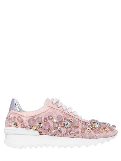 Casadei 30mm Swarovski Lace Sneakers, Light Pink
