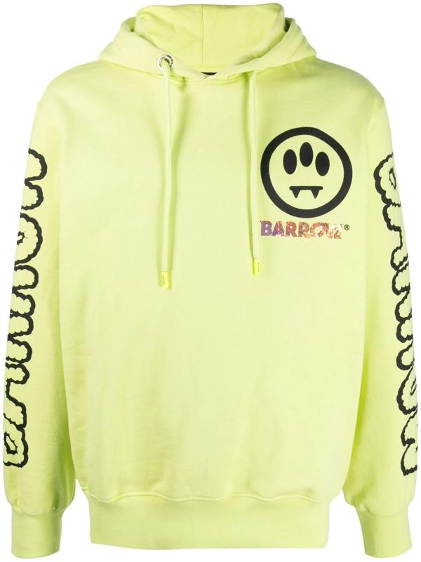 Barrow Fluorescent Yellow Smiley-print Hoodie