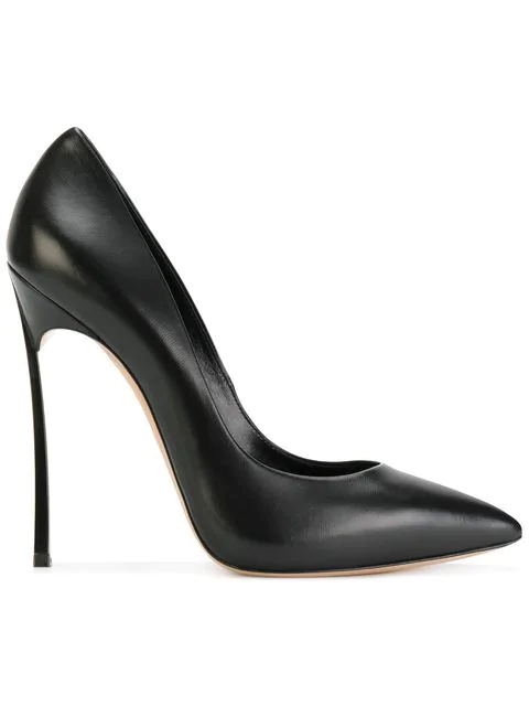 Casadei Blade Pumps In Black Leather In 9000 Duse Nero