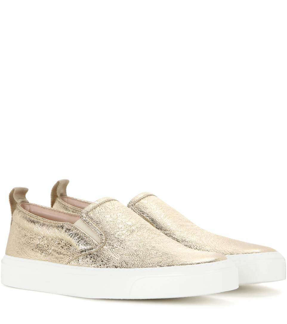 21df4aced29 Gucci Metallic Leather Slip-On Sneakers In Platino